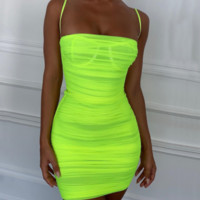 Women's new hot fluorescent color mesh pleated strap dress