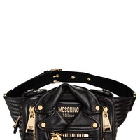 Women's Moschino 'Leather Jacket' Fanny Pack - Black