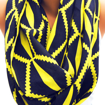 Blue and yellow scarf, bold infinity scarf, navy and yellow eternity scarf, geometric print scarf, large loop scarf