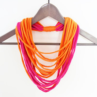 Fabric pink orange necklace neck ornament loop scarf round scarf melon strawberry tshirt necklace jersey shawl