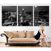Large Canvas Print Atlanta Night Skyline Cityscape Black White Atlanta Large Canvas Print