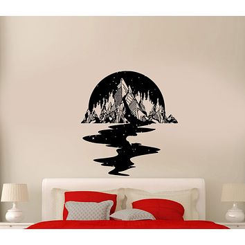 Wall Decal Night Sky Mountains Stars River Reflection Forest Trees Vinyl Sticker (ed933)
