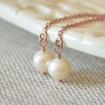 White Pearl Earrings, Rose Gold, Real Freshwater Pearl, Threader Earrings, Ear Threads, Dainty Jewelry for Women, Free Shipping
