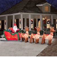 Giant 16 ft Inflatable Lighted Santa in Sleigh with Reindeer | Outdoor Christmas Holiday Decor for Yard or Lawn | A Festive Seasonal Gift! by Holiday Time