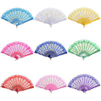 New Chinese Style Dance Party Wedding Lace Folding Hand Held Flower Fan HUCA
