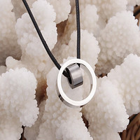 Fashion One Ring Inside Another Ring (Ring) Black Leather Pendant Necklace(White,Black,Blue) (1 Pc)