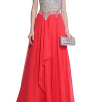 PRIMA 17-20232 Cap Sleeve Jeweled Sheer Illusion Top Prom Dress Evening Gown