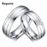 Fashion stainless steel Couple ring Engagement promise wedding pair of rings for women CZ jewelry
