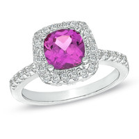 7.0mm Cushion-Cut Lab-Created Pink and White Sapphire Ring in Sterling Silver - Size 7