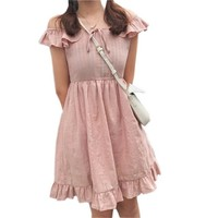 Japanese soft sister vintage slash neck women bodycon dresses Harajuku sweet Lolita wild summer casual women's mini dress