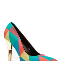 Lipstick Green Multi Faux Patent Leather Pointed Heels