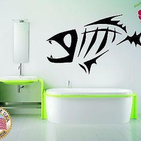 Wall Stickers Vinyl Decal Fish Skeleton Fishing Hobby Ocean Sea Marine Unique Gift EM197