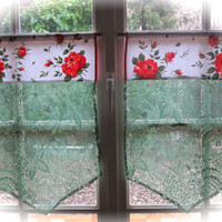 Cafe Curtains, Green lace Curtains, Kitchen Curtains, French Brise Bise