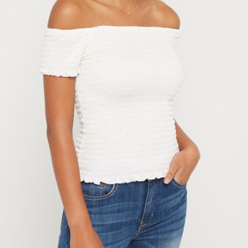 White Smocked Off Shoulder Crop Top | Crop Tops | rue21