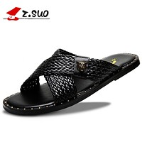 Men's Slippers Summer New Fashion Shoes Men Weaved With Metal Decoration Rivets Leather Flat Heel Sandals for Male