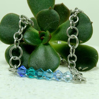 "Crystal bar bracelet Blue crystals 8"" hand linked jewelry"