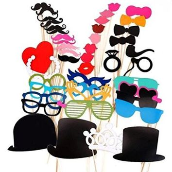 Anself 44pcs Set Wedding Photo Props on a Stick, Mask, Beard, Mustache, Hat, Glasses, Lips Perfect for Wedding, Masquerade, Birthday Party and BBQ Decoration