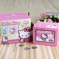 2018 Hello Kitty Brand New Steal Coin Piggy Bank Electronic Plastic Money Safety Box Coin Bank Money boxes
