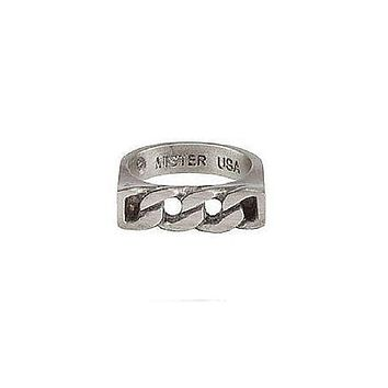 14K White Gold Curb Link Ring