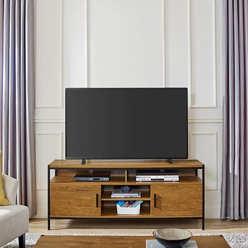 Caffoz Wide Entertainment Center TV Media Stand Furniture Designs | with Two Doors and Storage Shelves | Sturdy | Easy Assembly | Brown Oak Wood Look Accent Furniture with Metal Frame