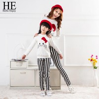 HE Hello Enjoy mother and daughter clothes autumn Family Matching Outfits white cute cat clothes+Striped Pants family fashion