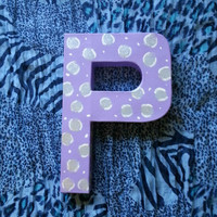 Letter block P - Leopard print - Grey and Purple for kids room or home decor