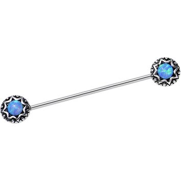14 Gauge Blue Synthetic Opal Star Shine Industrial Barbell 40mm