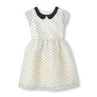 Short Sleeve Embellished Peter Pan Collar Printed Party Dress   The Children's Place