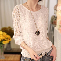 Woman Hollow Out long Sleeve Lace Blouse Chiffon Office Women Blouses and Shirt Female Clothing Tops
