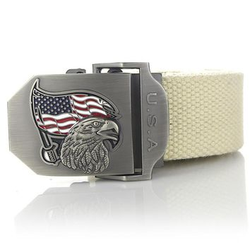 American Flag Eagle High Quality Canvas Belts for men and women. Available in multiple colors.