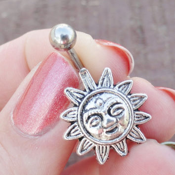 Celestial Sun Silver Belly Button Jewelry Ring