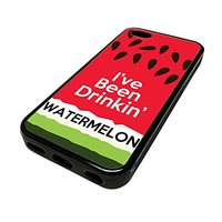 For Apple Iphone 5 or 5s Cute Phone Cases for Girls Beyonce Song Quote Watermelon Drink Fruit Pattern Design Cover Skin Black Rubber Silicone Teen Gift Vintage Hipster Fashion Design Art Print Cell Phone Accessories