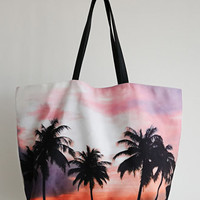 Tropical Sunset Print Tote