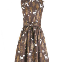 ModCloth Pinup Long Sleeveless A-line Biographical Book Club Dress in Forest