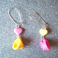 Sweet Tea Party - Pastel Heart and Teacup Earrings from On Secret Wings