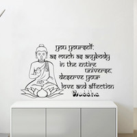 Wall Decals Quotes Vinyl Sticker Decal Home Decor You yourself, as much as anybody Buddha Quote Wall Decal Lotus Namaste Yoga Mandala #24