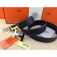New Authentic Hermes men's belt 38mm black Double Buckle 2H Gold&Silver 110cm