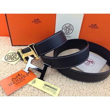 HERMES Reversible double H Gold/Silver Buckle black Men's Belt 38mm /110cm