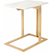 Dell Side Table White Marble Top on Gold Brushed Stainless Base