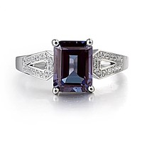 2.71CT Emerald Cut Lab Alexandrite Engagement Ring