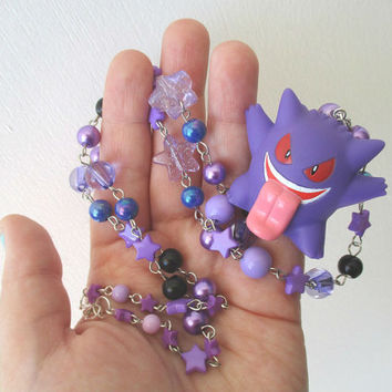 Pokémon Necklace - GENGAR - HALLOWEEN Bandai toy Necklace - Upcycled figure