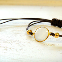 White / Clear Chalcedony Adjustable Waxed Cord Friendship Bracelet or Anklet