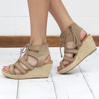 Minnetonka: Leighton Leather Wedge Lace Up Sandal {Taupe}