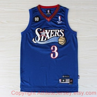 Super Rare Allen Iverson 3 Philadelphia 76ers Sixers Swingman Iverson NBA Jersey Basketball Jersey All Stitched and Sewn Any Size S - XXL