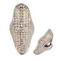 """1.75"""" gold crystal pave stretch ring free size cocktail"""