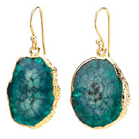 Agate Dangling Earrings - Green