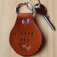 I Love You Keychain, Double Heart Key Fob, Leather Keychain, I Love You Key Fob, I Love You Keyring, Leather Key Fob, Handmade Keychain