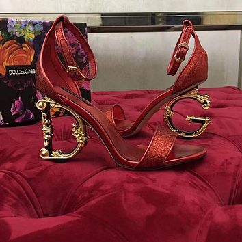 Dolce & Gabbana D&G Women's High Heel Sandals Shoes Red