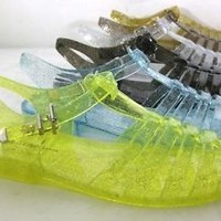 WOMENS GLITER JELLY SLINGBACK SANDALS  BUCKLE STRAPPY SHOES 5-11