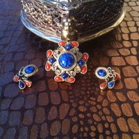 Vintage Set of Gold Tone blue and Orange Brooch and Earrings